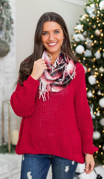 Madison Chain Cable Knit Sweater, Red