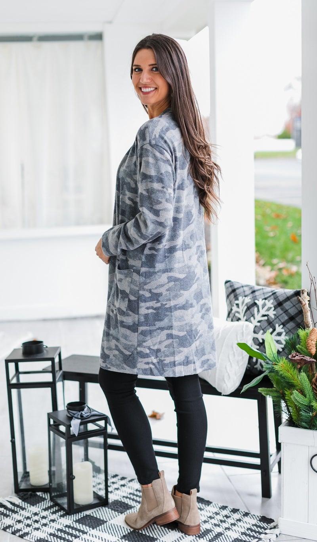 The Leah Camo Cardigan, Grey