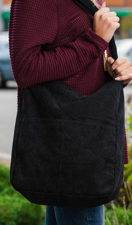 Take Care Corduroy Shoulder Bag, Black or Sand