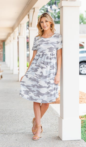 Avalon Dress, Grey Camo