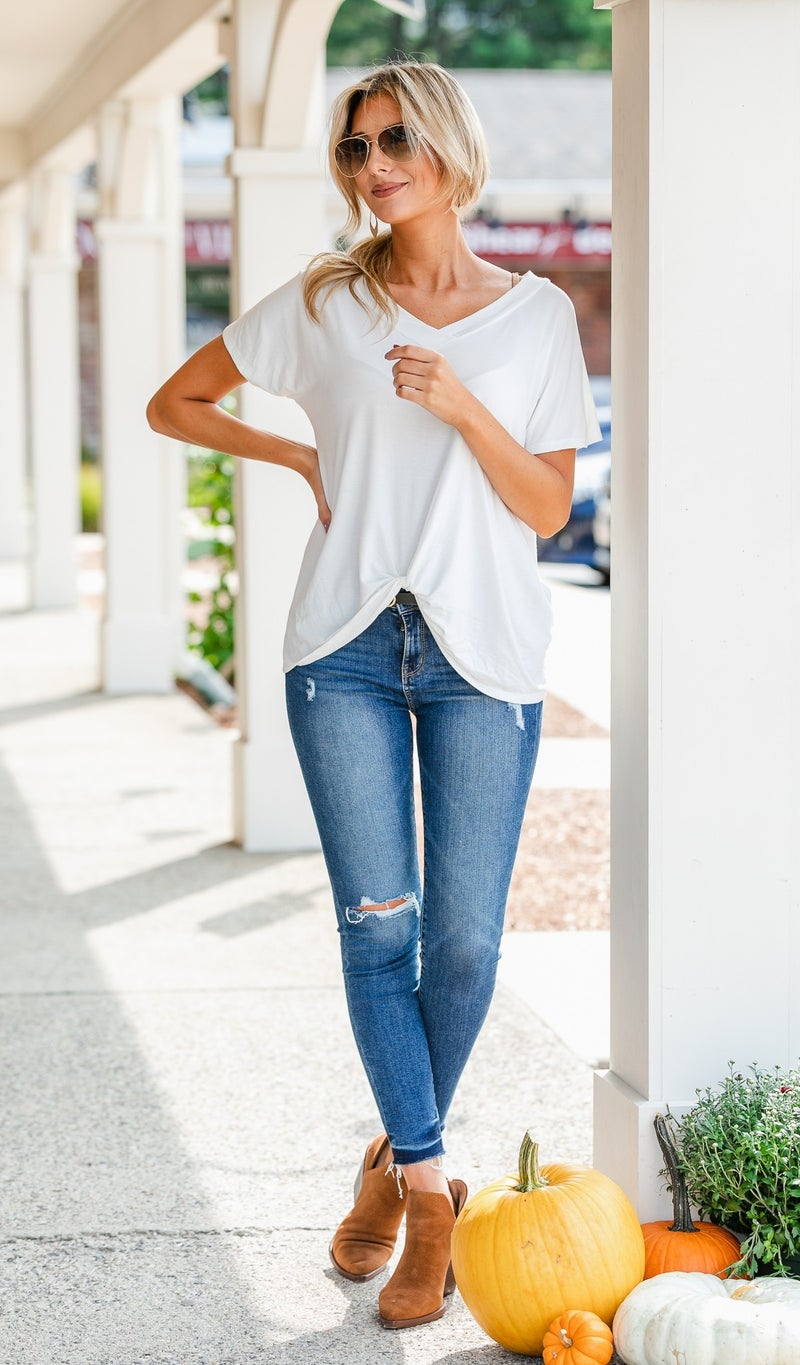 Can't Pass By Twist Tee, Ivory or Grey