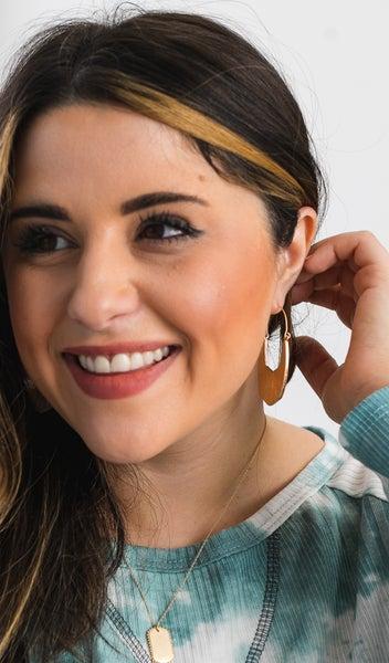 The Megan Earring, Beige Snakeskin