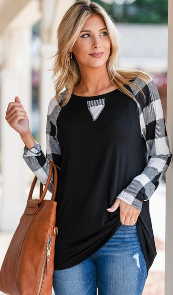 Fall's Finest Top, Black & White Buffalo Check