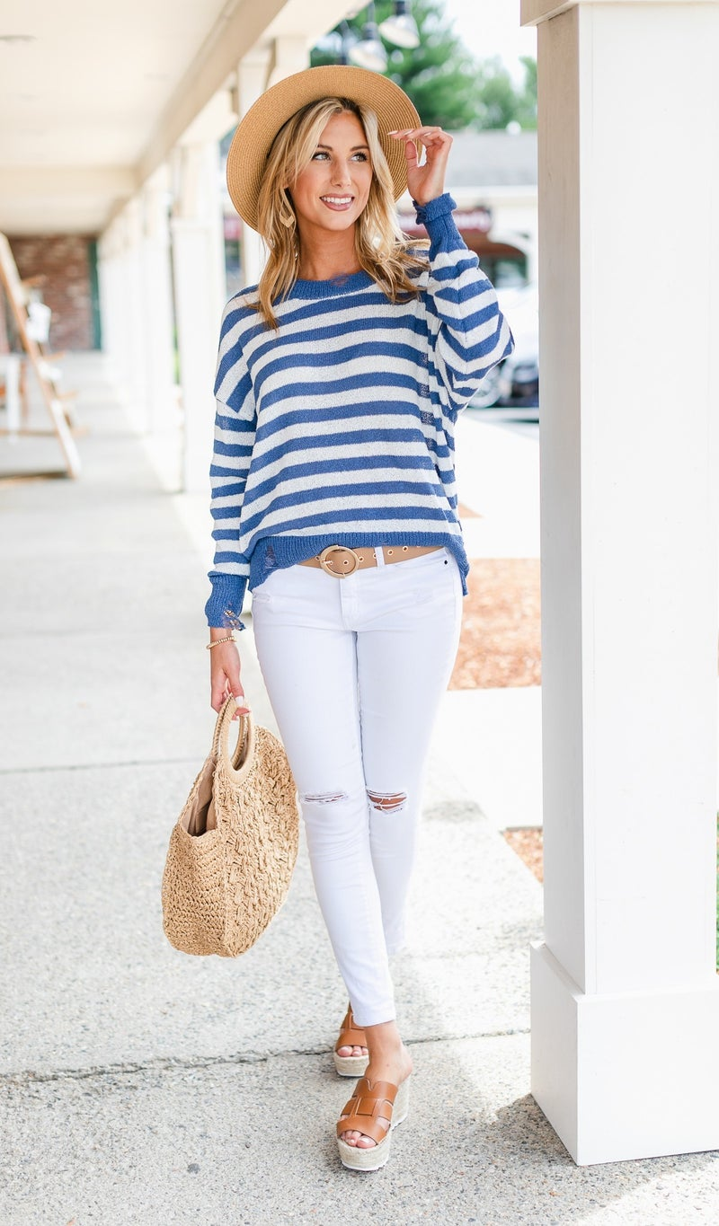 Talk of The Town Sweater, Blue Stripe