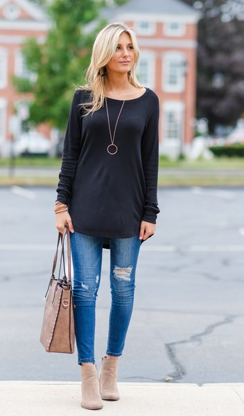 Must Have Layering Waffle Tunic, Black or Grey
