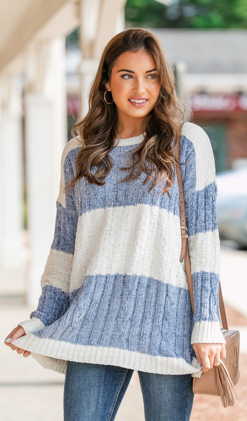 Orchard Ready Cable Knit Sweater, Blue