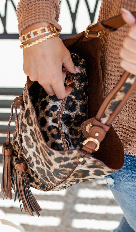 Living It Up Handbag, Brown or Grey Animal Print