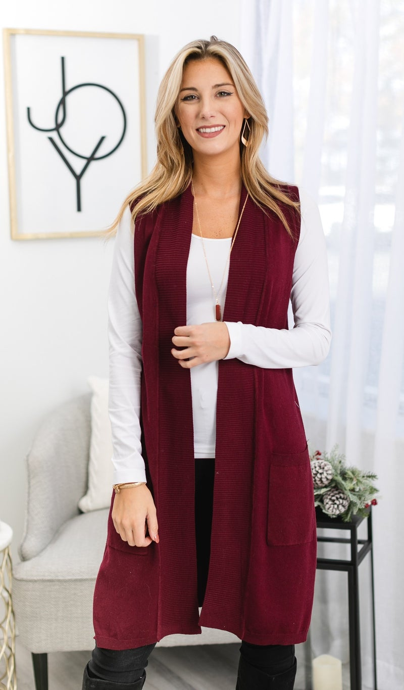Adventure Seeker Sweater Vest, Burgundy