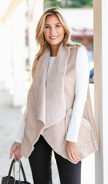 Cozy Layers Vest, Beige