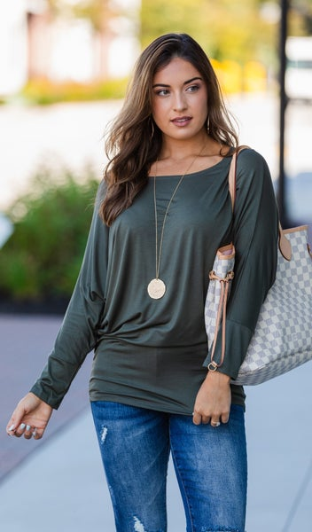 Always A Keeper Top, Olive or Charcoal