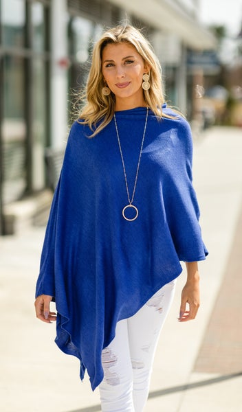 Lovely Lady Sweater Poncho & Necklace BUNDLE, Royal Blue