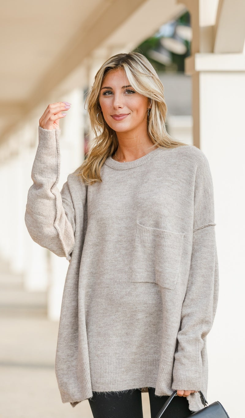 Easy As That Sweater, Charcoal, Mocha or Olive