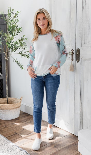 BFF Pullover, Mint Floral