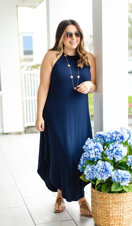 Bardot Maxi Dress, Navy