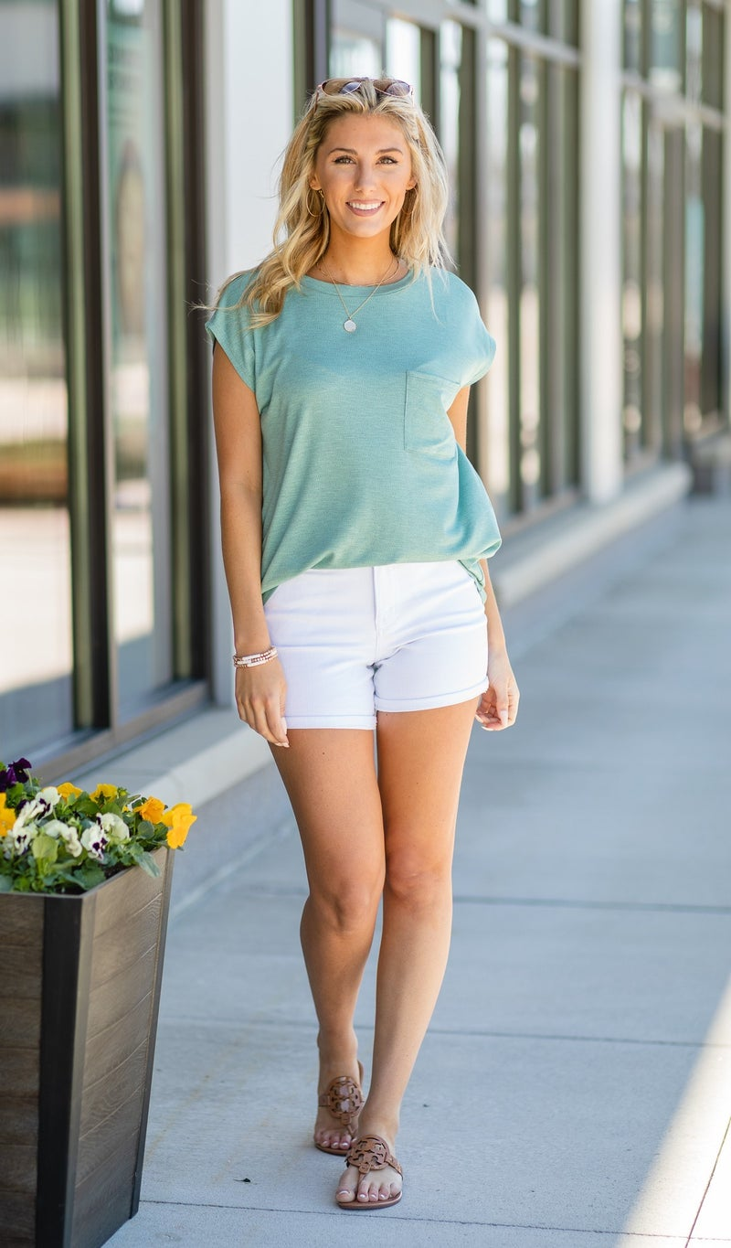 A New Summer Tee, Sage, Coral, Black, Or Ivory