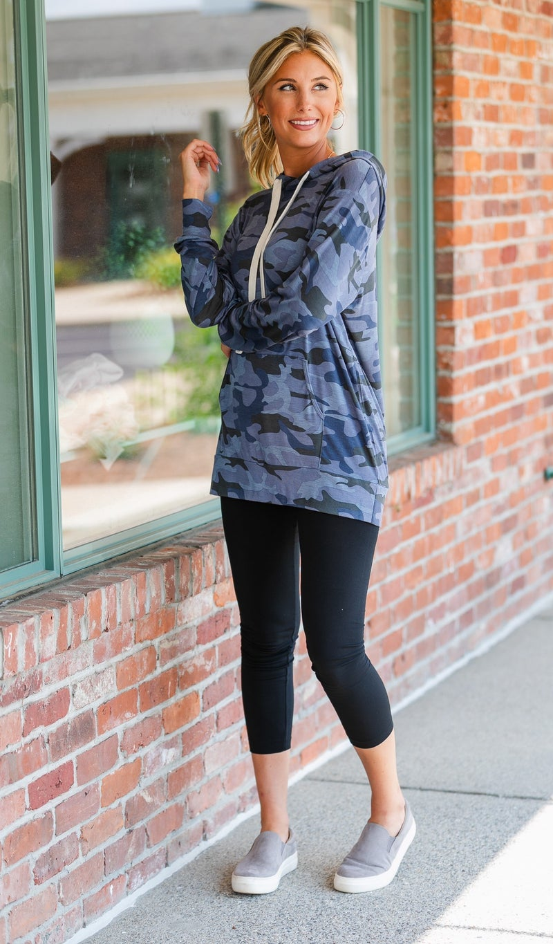 On All Sides Hoodie, Navy Camo