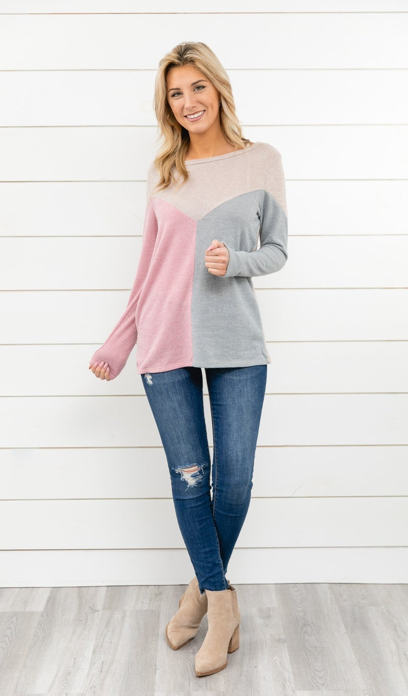 The Layla Color Block Top, Dusty Pink