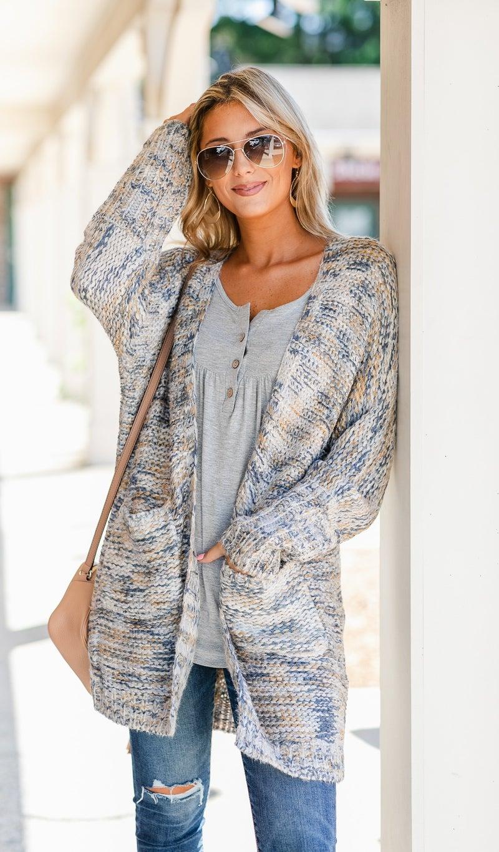 Bonfire Knit Cardi, Grey Marled