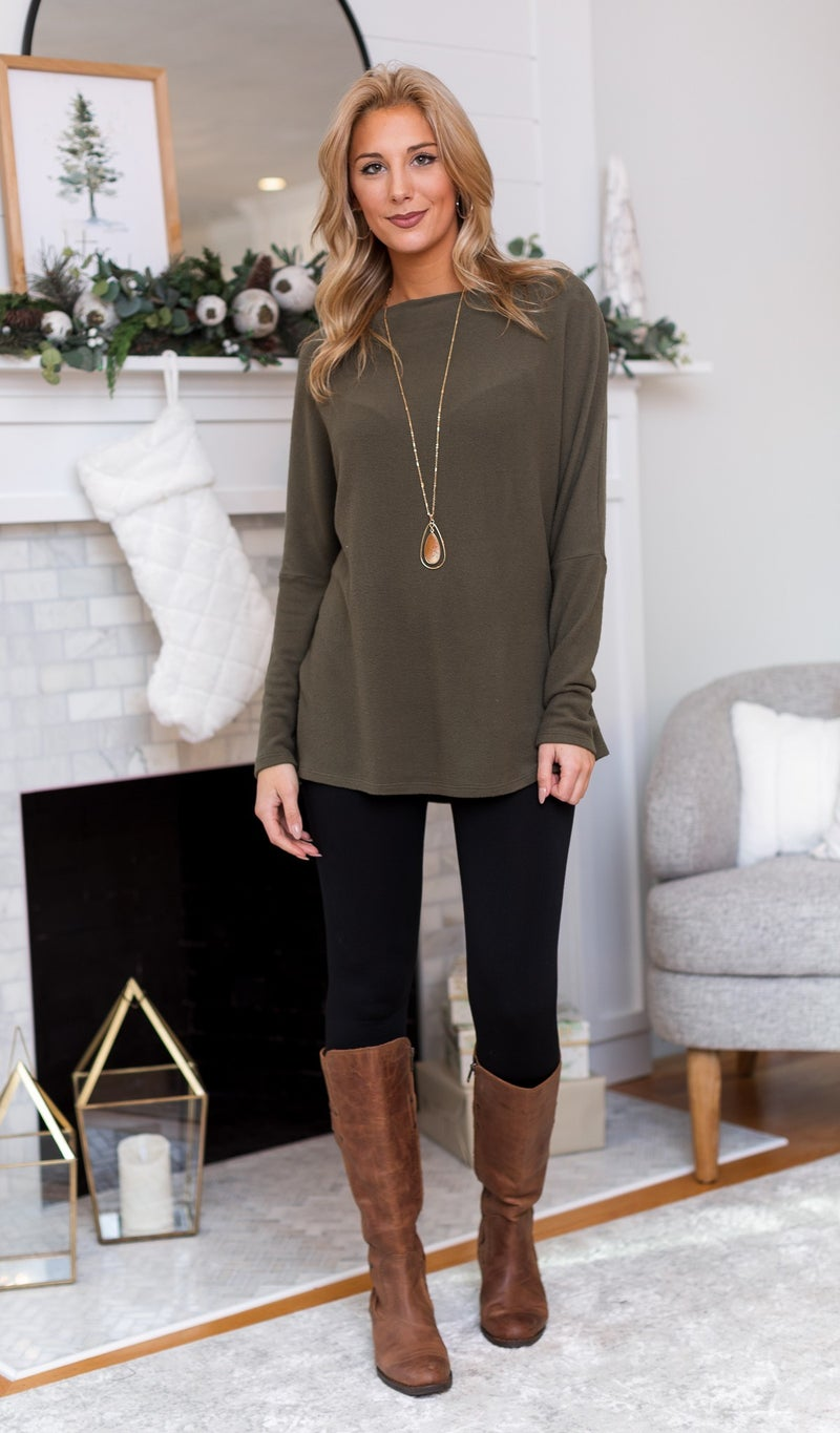 Holiday Horizon Top, Olive or Burgundy