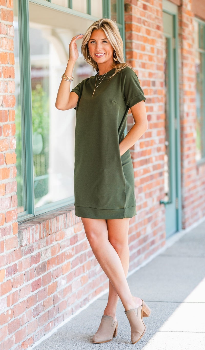 Carefree Kinda Day Dress, Olive