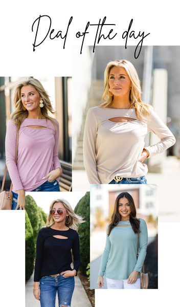 Hand In Mine Top, Beige, Black, Mauve or Sage