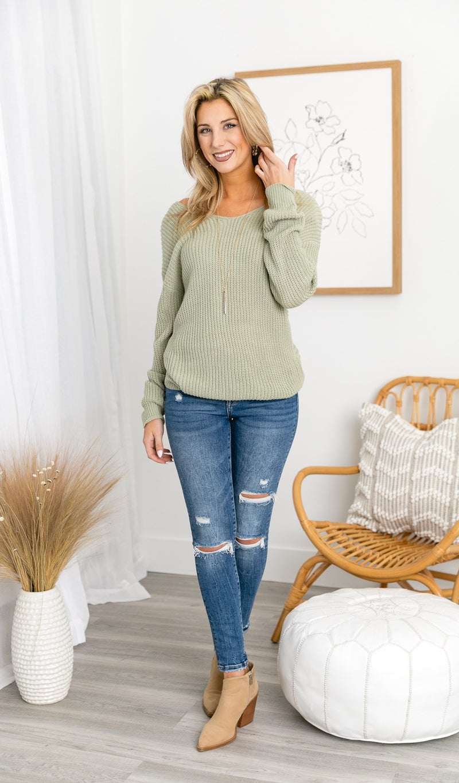 Nala Twist Sweater, Moss