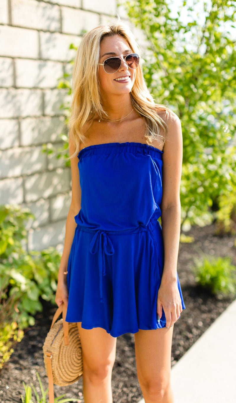 Strapless Style Romper, Blue