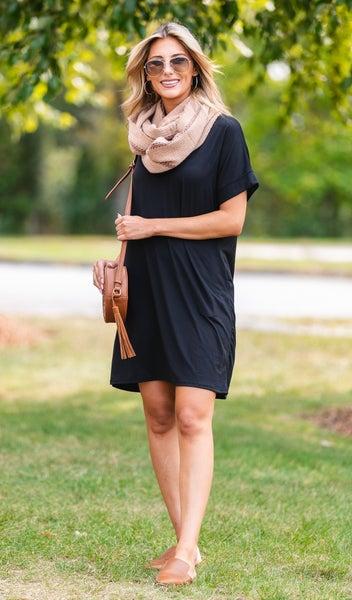 On The Go T-Knit Dress, Black, Burgundy or Olive