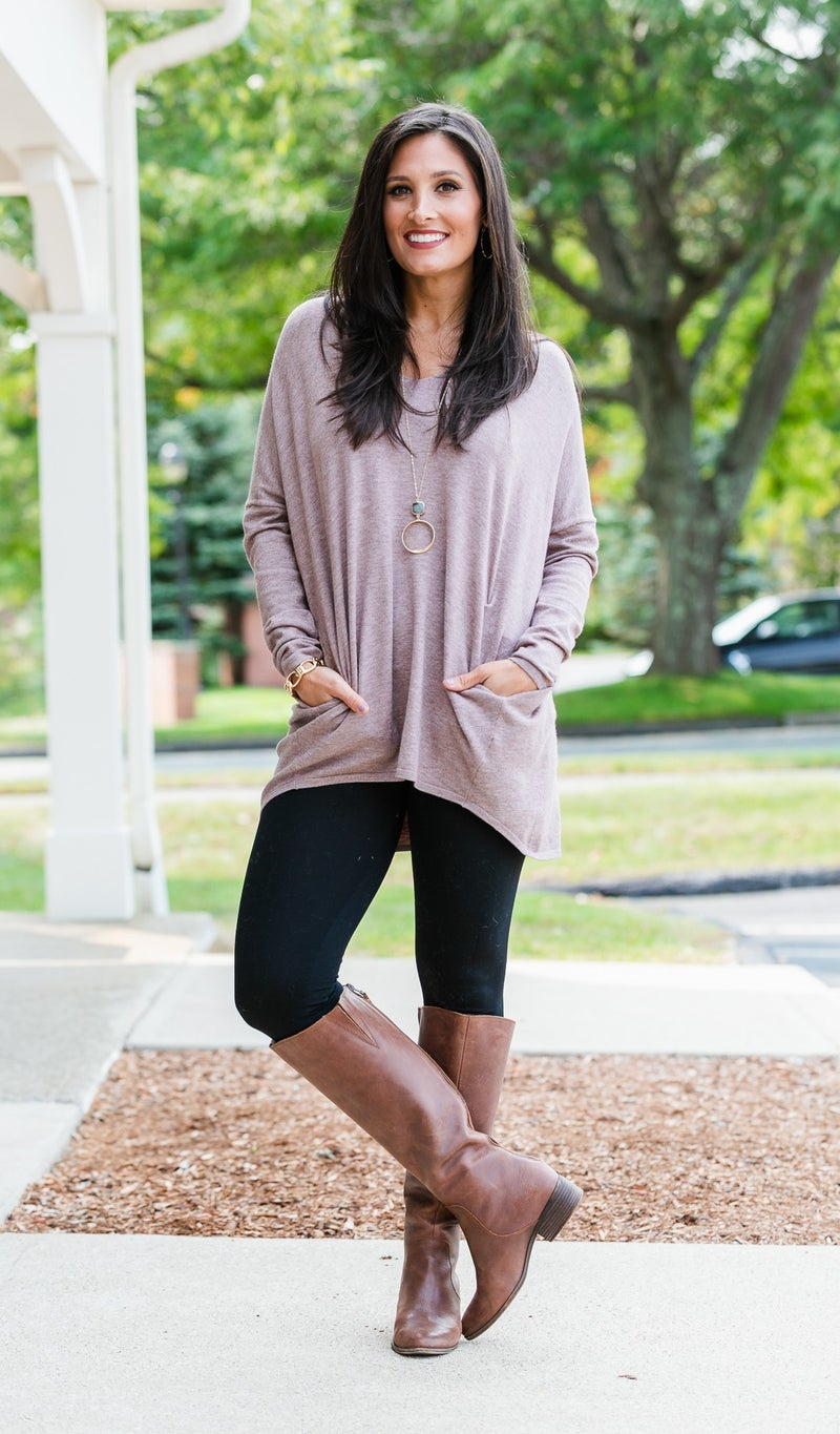 Falling Leaves Sweater Tunic, Taupe