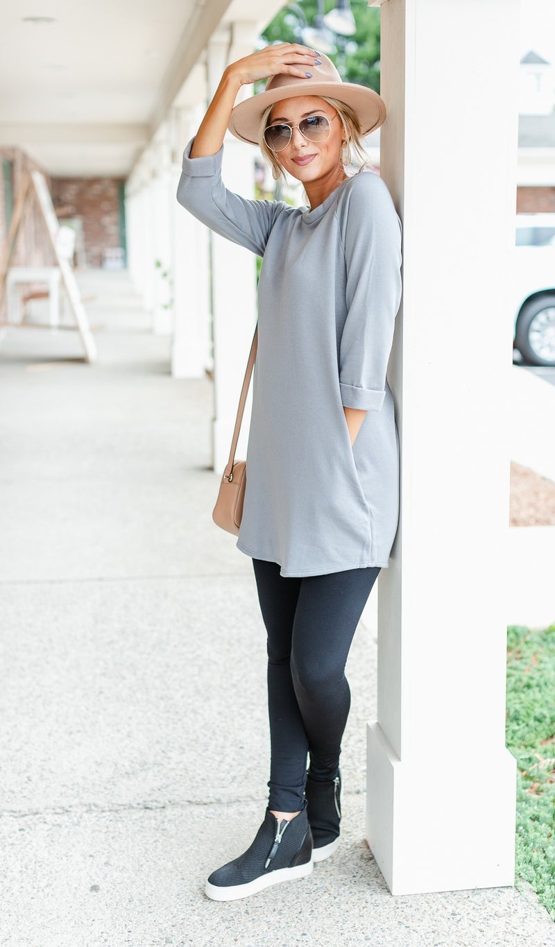 Make It Count Tunic/Dress, Green, Oatmeal or Grey