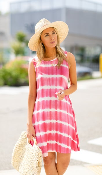 The Morgan Tie Dye Dress, Coral