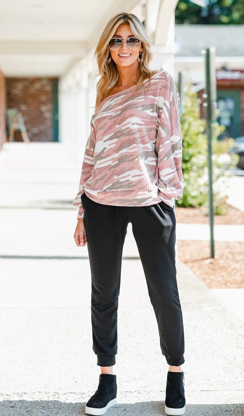 Away With Me Waffle Knit Top, Pink Camo