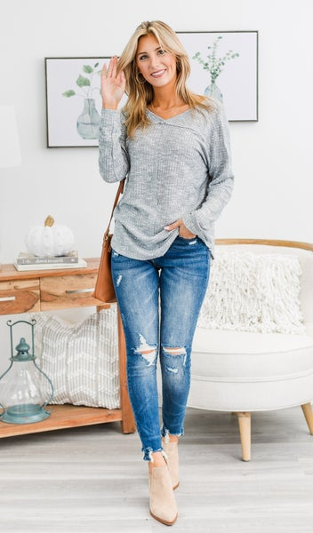 The Celeste Top, Heather Grey