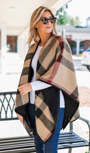 Feeling Fall Shawl, Camel  Multi
