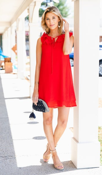 Into The Wind Shift Dress, Red