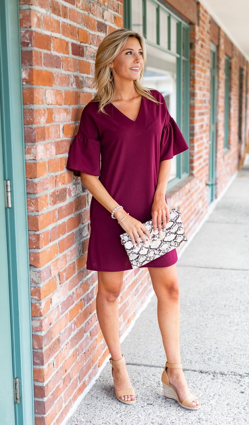The One To Love Dress, Burgundy