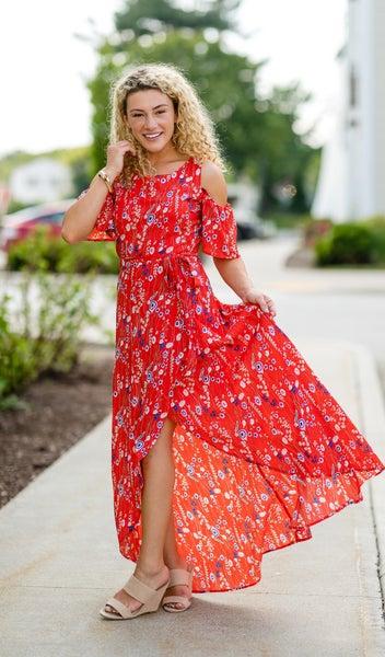 Floral Print Maxi Dress, Red