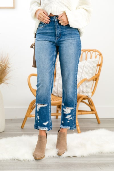 The Chloe Straight Leg Jeans, Medium Wash