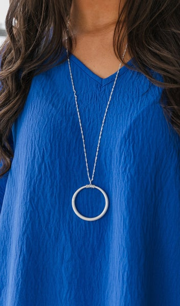 Brushed Silver Long Circle Necklace