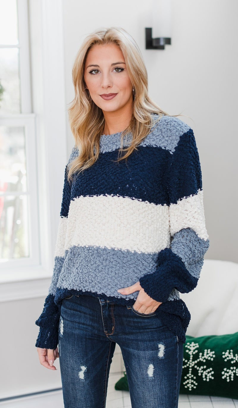 Soft As Can be Striped Sweater, Blue or Grey *Final Sale*