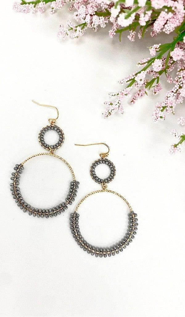 Double Date Earrings, Grey