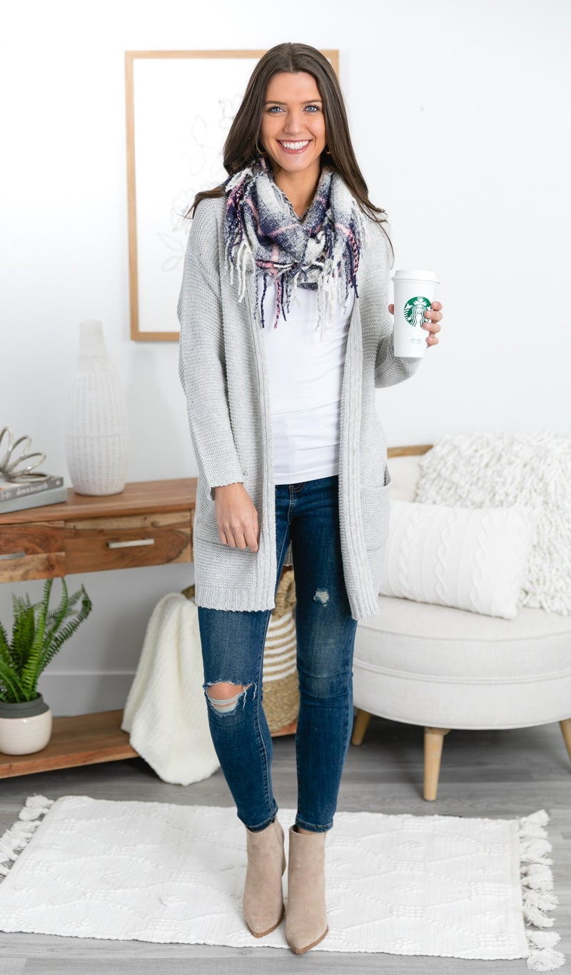Star Light Knit Cardigan, Grey
