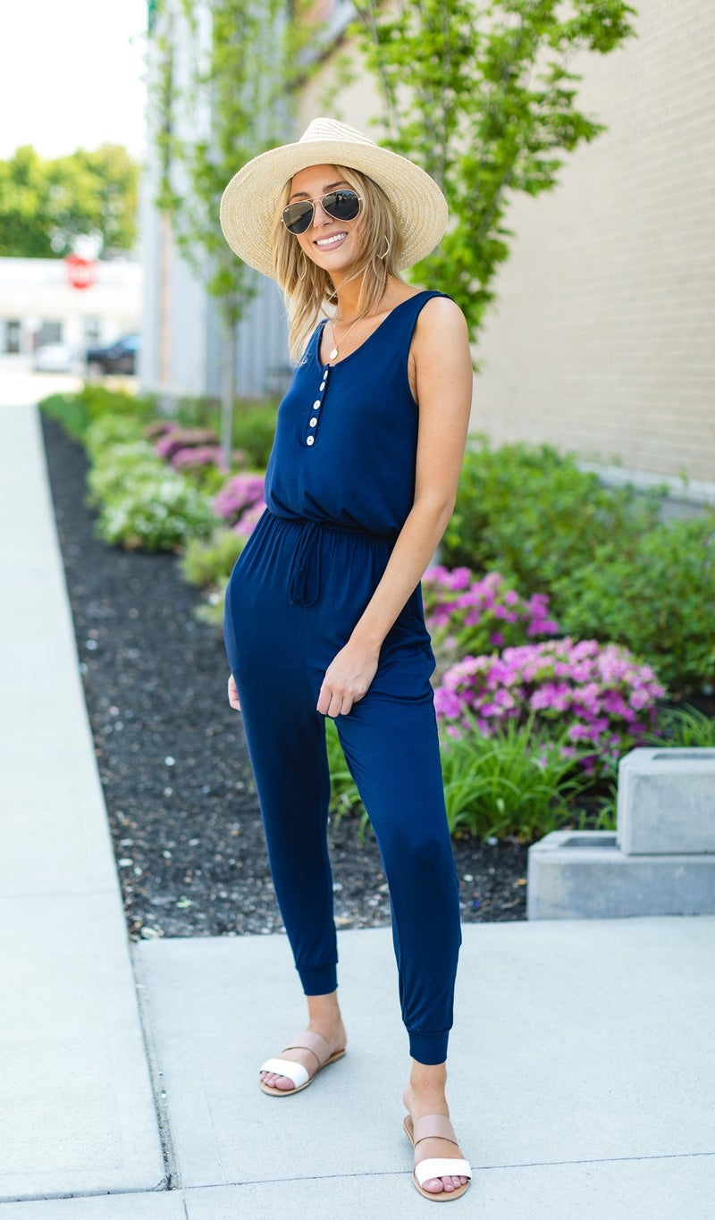 The Sporty Chic Jumpsuit, Navy