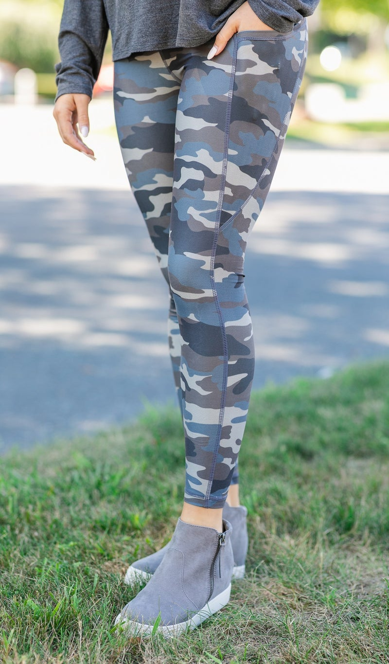 And We're Off Leggings, Blue Camo