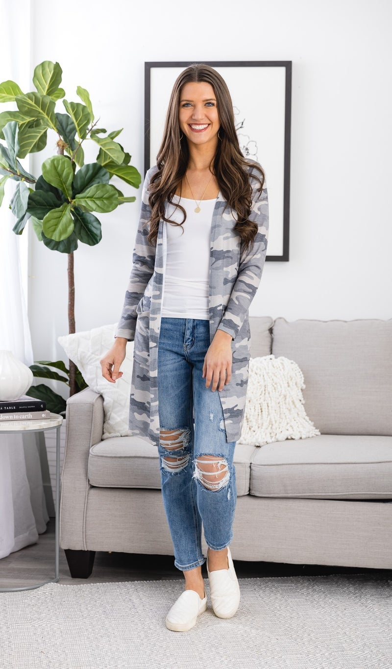 The Cozy Cool Cardigan, Beige Camo