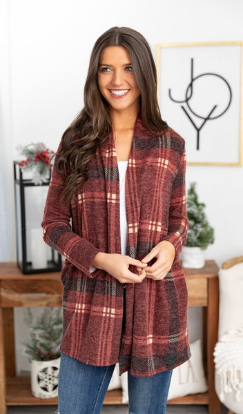Worth The Wait Cardigan, Burgundy Plaid