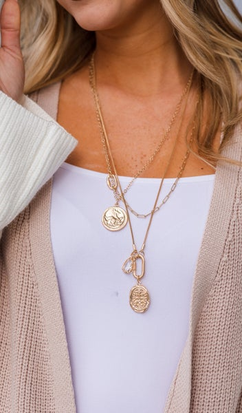 The Cece Layered Necklace, Gold
