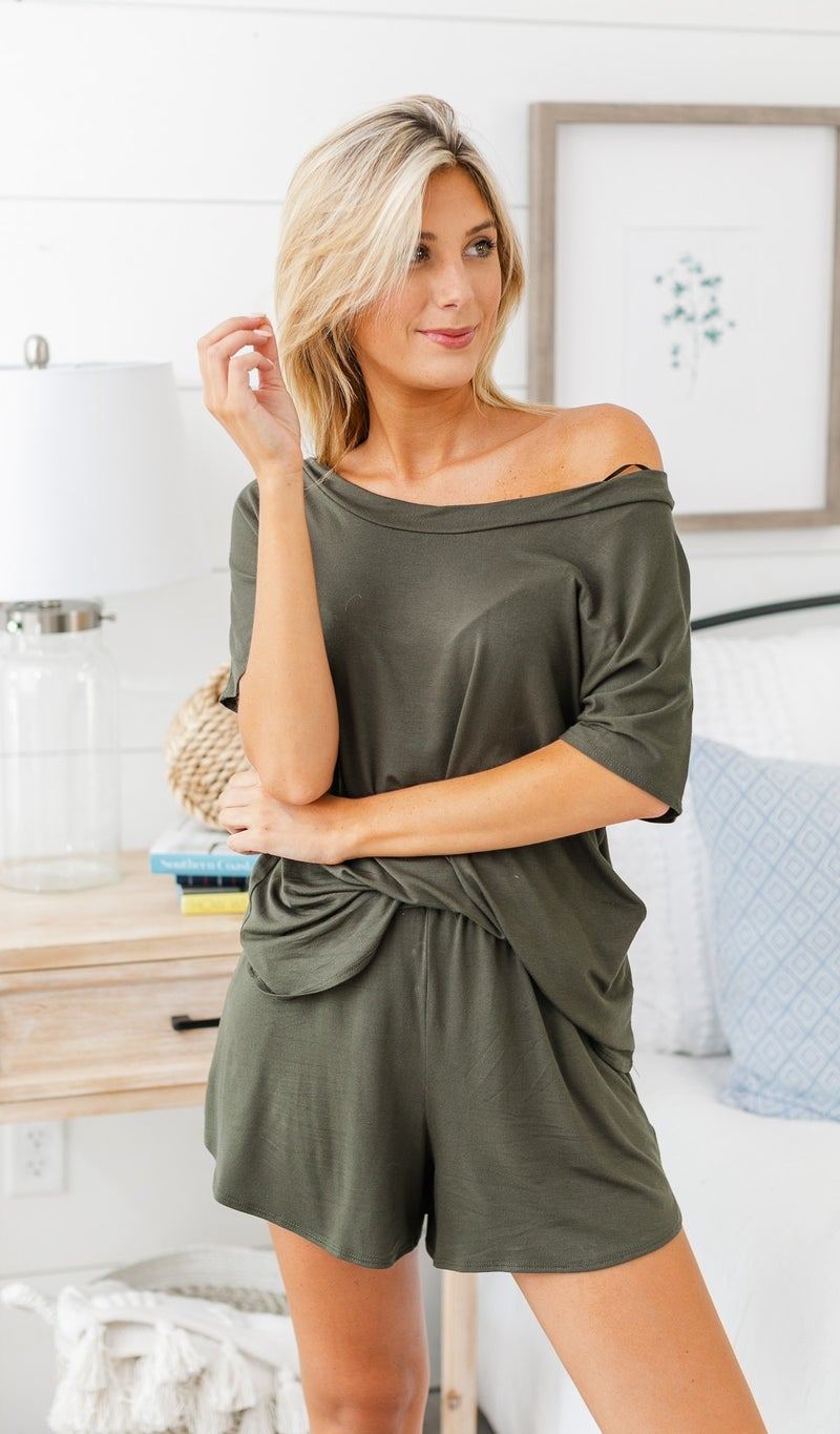 In The Clouds Loungewear Tops, Charcoal Burgundy or Olive