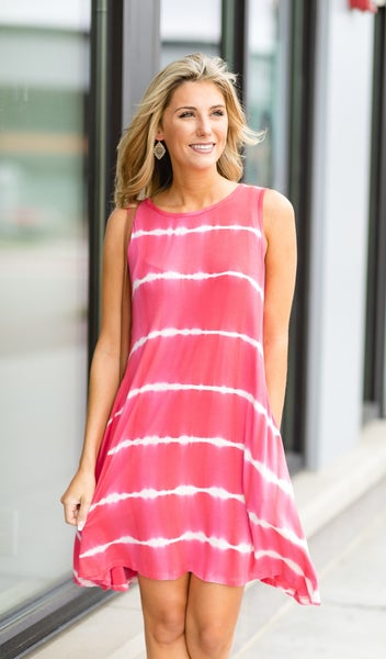 The Morgan Tie Dye Dress, Fuchsia