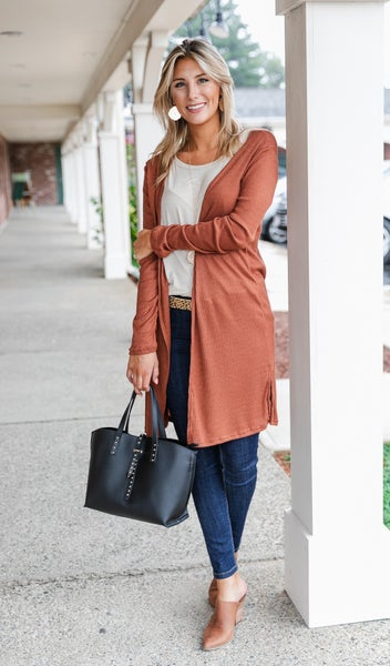 Not Your Average Duster Cardigan, Chestnut or Burgundy